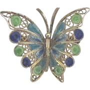 Vintage Gold Plated 800 Silver Enamel Filigree Butterfly Brooch