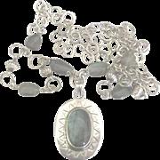 Stunning Bold Sterling Labradorite Pendant Drop Necklace