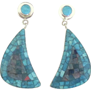 Stunning Intricate Opal and Turquoise Mosaic Pierced Sterling Earrings