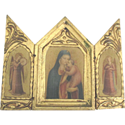 SALE PENDING Vintage Italian Madonna and Child with Angels Gilt Gesso Wood Triptych