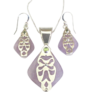 Stunning Sterling Amethyst Peridot Pendant and Pierced Earrings