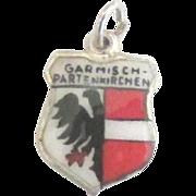 Vintage Enamel Garmisch Germany Travel Shield Charm