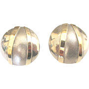 Stunning Vintage 14K and Sterling Geometric Pierced Earrings
