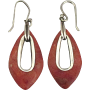 Vintage Sterling Polished Spiny Oyster Pierced Earrings