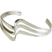 Modernist Sterling Triple Wave Cuff Bracelet