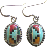 Vintage Sterling Inlaid Zuni Pierced Earrings