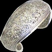 Gorgeous Wide Vintage Sterling Cut Work Floral Bracelet