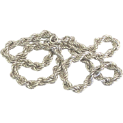 Vintage Italian Sterling Thick Twisted Rope Necklace- 18 Inches