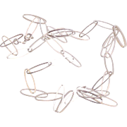 Lovely Italian Sterling Paper Clip Chain Necklace- 24 Inches