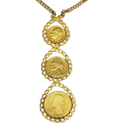 Bold Vintage Gold Plated (Genuine) Triple Coin Chain Necklace