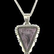 Lovely Vintage Signed Navajo Sterling Purple Sugalite Pendant