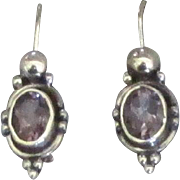 Beautiful Sterling Deep Purple Amethyst Pierced Earrings
