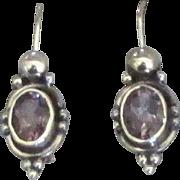 Beautiful Sterling Deep Purple Amethyst Pierced Earrings