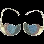 Intricate Enamel on Sterling Bird Pierced Earrings