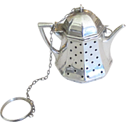 Charming Vintage Sterling Figural Teapot Tea Ball Strainer