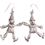 Charming Dancing Sterling Movable Clown Pierced Earring