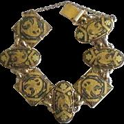 Vintage Dragon Link Damascene Gold Plated Bracelet