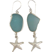 Pretty Sea Glass Sterling Pierced Earrings with Starfish Dangles