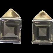 Sleek Sophisticated Sterling Smokey Glass Pierced Earrings