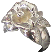 Stunning Vintage Diamond Sterling Flower Ring