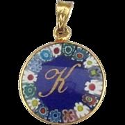 """Lovely Vintage Venetian Cobalt Millefiore Glass Pendant with """"K"""""""
