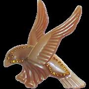 Vintage Celluloid Rhinestone Bird in Flight Brooch