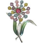 Lovely Vintage Signed Coro Enamel Rhinestone Flower Brooch
