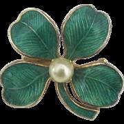 Vintage Guilloche Enamel Four Leaf Clover Brooch