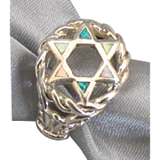 Lovely Sterling Inlaid Star of David Ring
