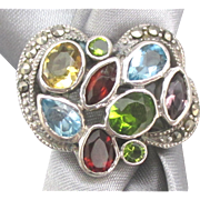 Sparkling Sterling Gemstone Ring with Marcasite
