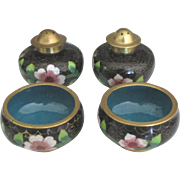 Two Vintage Cloisonne Pepper and Salt Cellar Sets