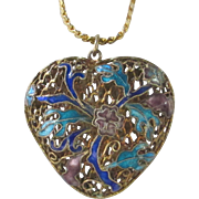 Large Open Enamel Floral Puffy Heart Pendant and Chain