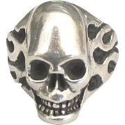 Dramatic Signed Sterling Skull and Flames Ring