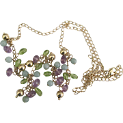 Lovely 14K Amethyst Peridot Chalcedony Necklace