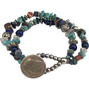 Charming Vintage Mineral Bead Double Strand Bracelet with Buffalo Nickel Clasp