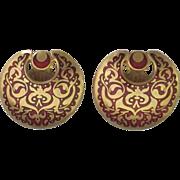 Gorgeous Vintage Red Enamel Gold Plate MMA Earrings