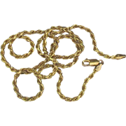 """Vintage Italian Sterling Vermeil Rope Chain 22"""" Necklace"""