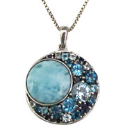 Beautiful Larimar Blue Topaz Sterling Pendant and Chain