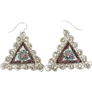 Vintage Hand Painted Sterling Filigree Pieced Earrings