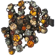 Fabulous Wide Vintage Amber and Gray Rhinestone Bracelet