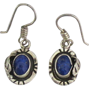 Lovely Vintage Sterling Lapis Pierced Earrings