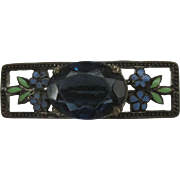 Victorian Glass Stone Brooch with Enamel Flowers