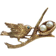 Lovely 14K Emerald Bird on Branch Brooch with Nest and Pearls