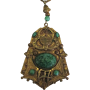 Stunning Vintage Peking Glass Pendant Necklace with Slide