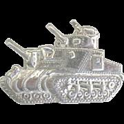 Vintage 1937 Sterling Military Tank Brooch
