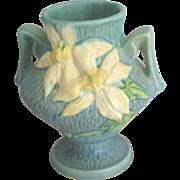 Vintage 1940's Roseville Blue Clematis Handled Vase