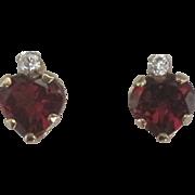 Sparking 14K Garnet and CZ Heart Pierced Earrings