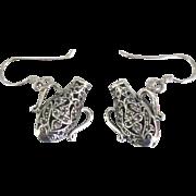 Lovely Sterling Filigree Bottle Pierced Earrings