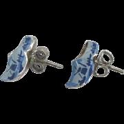 Charming Vintage Enamel Sterling Dutch Shoes Pierced Earrings