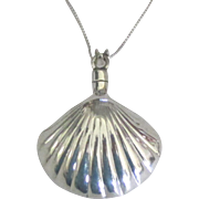 """Pretty Sterling Shell Perfume Bottle Pendant with Dauber and 18"""" Chain"""